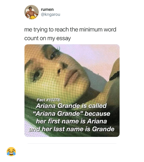 "ariana grande: rumen  @kngarou  me trying to reach the minimum word  count on my essay  Fact #10278:  Ariana Grande is called  ""Ariana Grande because  her first name is Ariana  and her last name is Grande 😂"