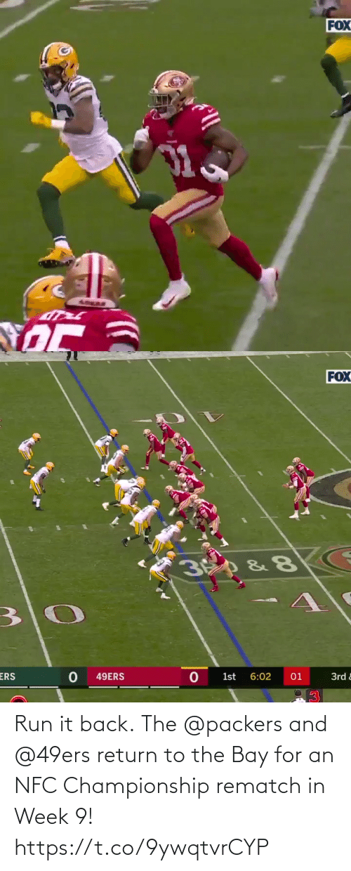 Run: Run it back.  The @packers and @49ers return to the Bay for an NFC Championship rematch in Week 9! https://t.co/9ywqtvrCYP