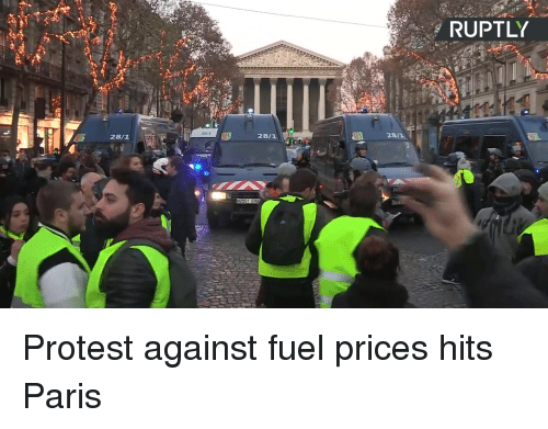 Dank, Protest, and Paris: RUPTLY  2811  28/1  28/1 Protest against fuel prices hits Paris