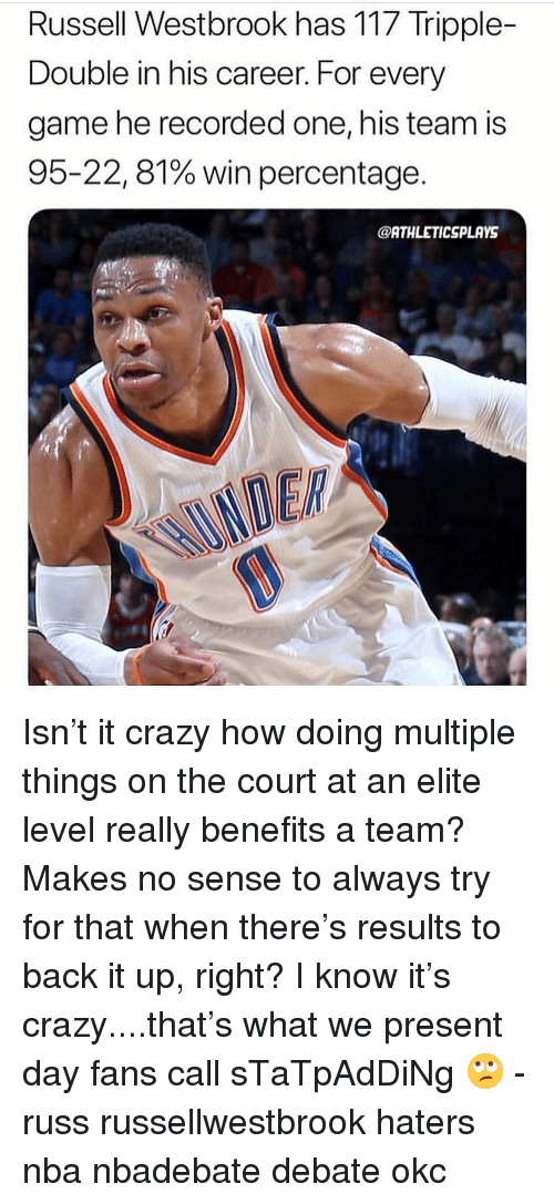 Crazy, Memes, and Nba: Russell Westbrook has 117 Tripple-  Double in his career. For every  game he recorded one, his team is  95-22, 81% win percentage.  @ATHLETICSPLAYS  DER Isn't it crazy how doing multiple things on the court at an elite level really benefits a team? Makes no sense to always try for that when there's results to back it up, right? I know it's crazy....that's what we present day fans call sTaTpAdDiNg 🙄 - russ russellwestbrook haters nba nbadebate debate okc