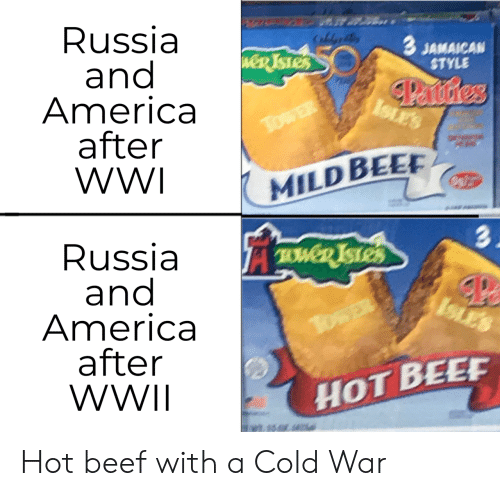 wwii: Russia  and  America  after  WWI  CaldeB  3 JAMAICAN  STYLE  weR TSTES  Panstres  ISLES  TowER  MILD BEE  3.  Russia  and  America  after  WWII  TWD ISTES  ISLES  TosER  HOT BEEF Hot beef with a Cold War