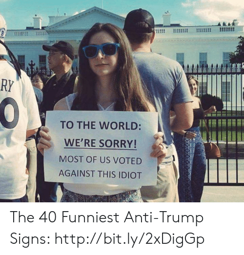 Memes, Sorry, and Http: RY  TO THE WORLD:  WE'RE SORRY!  MOST OF US VOTED  AGAINST THIS IDIOT The 40 Funniest Anti-Trump Signs: http://bit.ly/2xDigGp