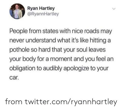 Dank, Twitter, and Never: Ryan Hartley  @RyannHartley  People from states with nice roads may  never understand what it's like hitting a  pothole so hard that your soul leaves  your body for a moment and you feel an  obligation to audibly apologize to your  car. from twitter.com/ryannhartley