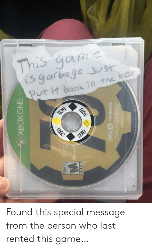 Microsoft, Game, and Who: s it  C.  Da  ATURE 17+  Microsoft  ESRB  Fallst 76Bethesda  a ZeniMax  ision, public performance, rental, pay fo  lay, or circumvention of copy Found this special message from the person who last rented this game…