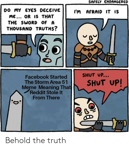 Facebook, Meme, and Reddit: SAFELY ENDANGERED  Do MY EYES DECEIVE  I'm AFRAID IT IS  ME... OR IS THAT  THE SWORD OF A  THOUSAND TRUTHS?  SHUT UP...  Facebook Started  The Storm Area 51  Meme Meaning That  Reddit Stole It  From There  SHUT UP! Behold the truth