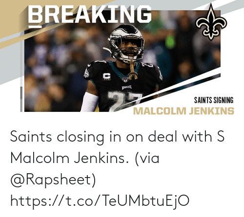 via: Saints closing in on deal with S Malcolm Jenkins. (via @Rapsheet) https://t.co/TeUMbtuEjO