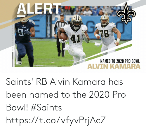 Named: Saints' RB Alvin Kamara has been named to the 2020 Pro Bowl!  #Saints https://t.co/vfyvPrjAcZ