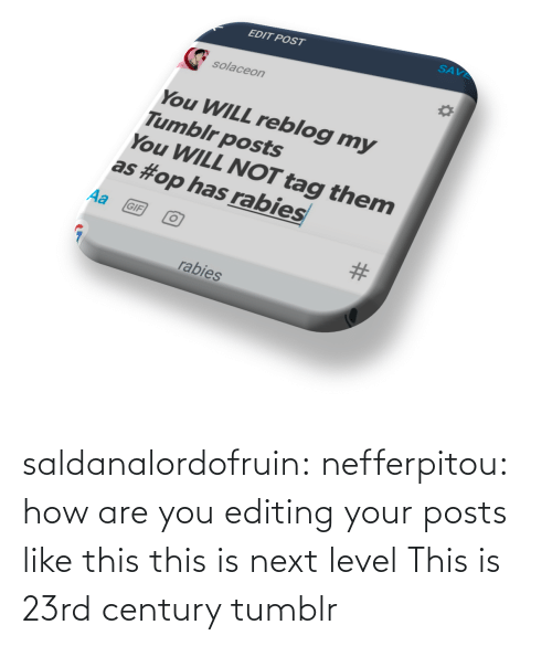 next: saldanalordofruin: nefferpitou: how are you editing your posts like this this is next level  This is 23rd century tumblr