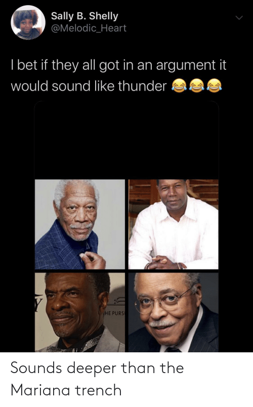 I Bet: Sally B. Shelly  @Melodic_Heart  I bet if they all got in an argument it  would sound like thunder  HE PURS Sounds deeper than the Mariana trench