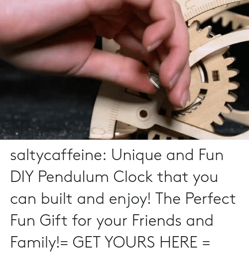 Clock, Family, and Friends: saltycaffeine:  Unique and Fun DIY Pendulum Clock that you can built and enjoy! The Perfect Fun Gift for your Friends and Family!= GET YOURS HERE =