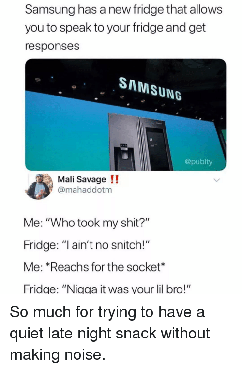"""Memes, Savage, and Shit: Samsung has a new fridge that allows  you to speak to your fridge and get  responses  SNNMSUNG  @pubity  Mali Savage !!  @mahaddotm  Me: """"Who took my shit?""""  Fridge: """"l ain't no snitch!""""  Me: *Reachs for the socket*  Fridge: """"Nigga it was your lil bro!"""" So much for trying to have a quiet late night snack without making noise."""