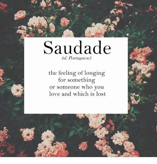 Saudade: Saudade  sl. Portuguese)  the feeling of longing  for something  or someone who you  love and which is lost