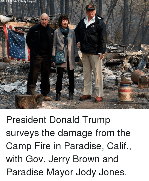 Donald Trump, Fire, and Memes: SAUL LOFB/AFP/Getty Images)  USA President Donald Trump surveys the damage from the Camp Fire in Paradise, Calif., with Gov. Jerry Brown and Paradise Mayor Jody Jones.