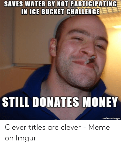 Clever Titles: SAVES WATER BY NOT PARTICIPATING  IN ICE BUCKET CHALLENGE  STILL DONATES MONEY  made on imgur
