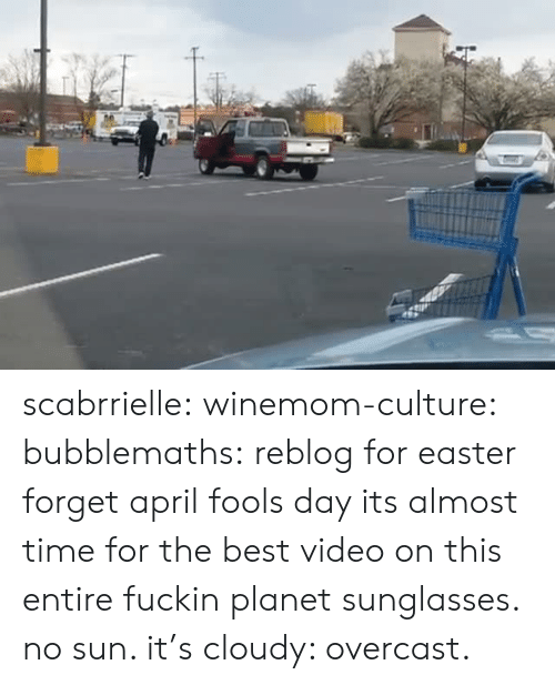 Easter, Target, and Tumblr: scabrrielle:  winemom-culture:  bubblemaths: reblog for easter forget april fools day its almost time for the best video on this entire fuckin planet  sunglasses. no sun. it's cloudy: overcast.