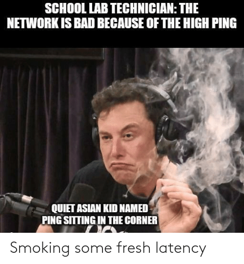 Asian: SCHOOL LAB TECHNICIAN: THE  NETWORK IS BAD BECAUSE OF THE HIGH PING  QUIET ASIAN KID NAMED  PING SITTING IN THE CORNER Smoking some fresh latency