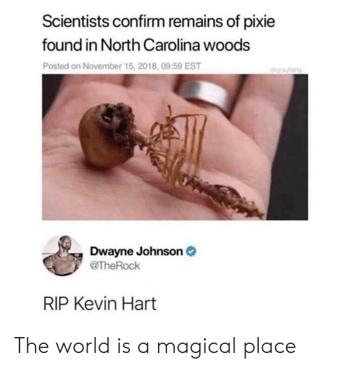 Kevin Hart: Scientists confirm remains of pixie  found in North Carolina woods  Posted on November 15, 2018, 09:59 EST  drayfang  Dwayne Johnson  @TheRock  RIP Kevin Hart The world is a magical place