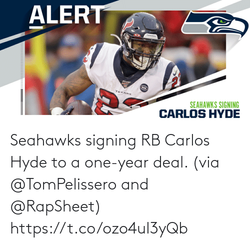 deal: Seahawks signing RB Carlos Hyde to a one-year deal. (via @TomPelissero and @RapSheet) https://t.co/ozo4ul3yQb
