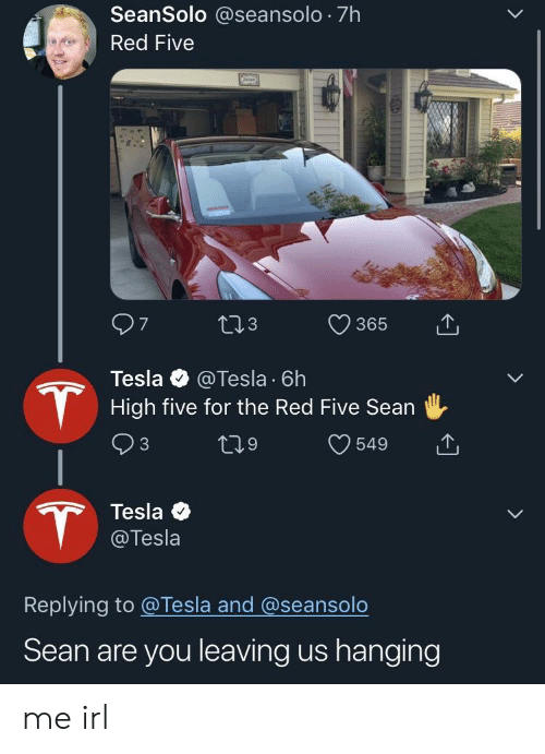 Irl, Me IRL, and Tesla: SeanSolo @seansolo 7h  Red Five  365  3  Tesla @Tesla 6h  High five for the Red Five Sean  Tesla  @Tesla  Replying to @Tesla and @seansolo  Sean are you leaving us hanging me irl