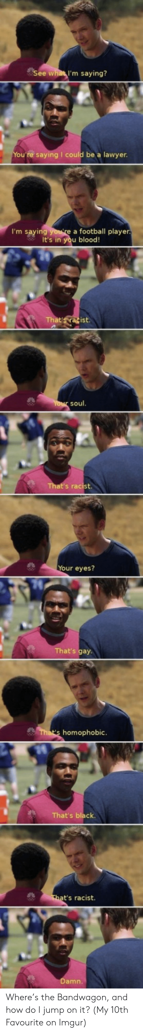 Football, Black, and Imgur: See what I'm saying?  u're saying I could be a lawyen  I'm saying  a football player  It's in you blood!  soul  Your eyes?  at's gay  homophobic  That's black  t's racist  amn Where's the Bandwagon, and how do I jump on it? (My 10th Favourite on Imgur)