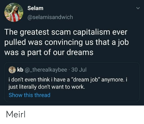 """30 Jul: Selam  @selamisandwich  The greatest scam capitalism ever  pulled was convincing us that a job  was a part of our dreams  kb @_therealkaybee 30 Jul  i don't even think i have a """"dream job"""" anymore. i  just literally don't want to work.  Show this thread Meirl"""