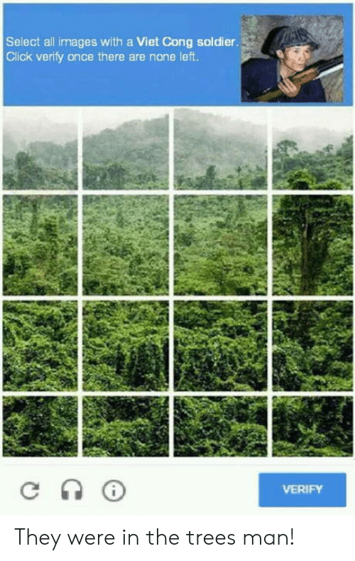 viet cong: Select all images with a Viet Cong soldier  Click verify once there are none left  VERIFY They were in the trees man!
