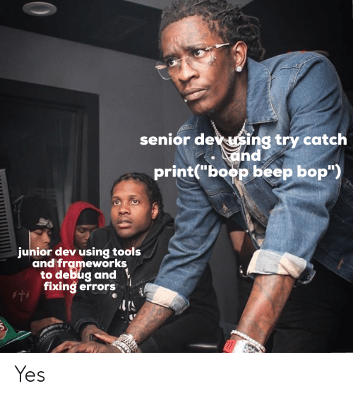 """Fixing: senior dev sing try catch  and  print(""""boop beep bop"""")  junior dev using tools  and frameworks  to debug and  fixing errors Yes"""