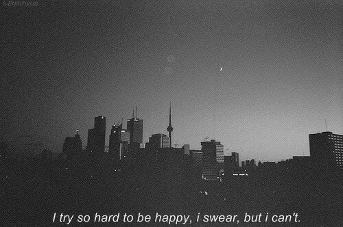 Happy, Be Happy, and I Swear: SENSİTIVUS  I try so hard to be happy, i swear, but i can't.