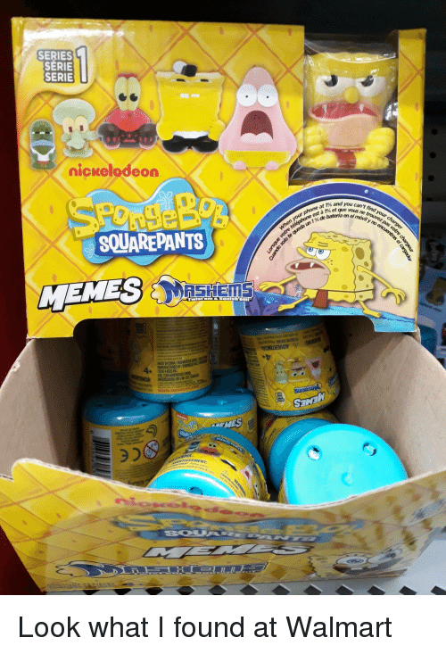 Nickelodeon, Walmart, and Que: SERIES  SERIE  SERIE  nickelodeon  % and you can't fi  a t% et que vous ne  de  a en el  SOUAREPANTS  SSEMENT Look what I found at Walmart
