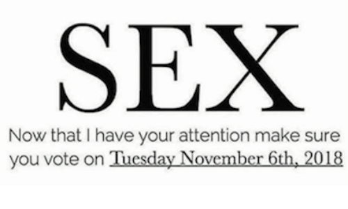 Sex, Make, and You: SEX  Now that I have your attention make sure  you vote on Tuesday November 6th, 2018