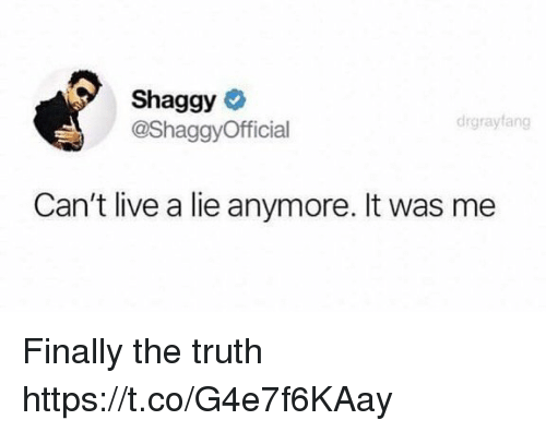 Funny, Live, and Truth: Shaggy  @ShaggyOfficial  drgrayfang  Can't live a lie anymore. It was me Finally the truth https://t.co/G4e7f6KAay