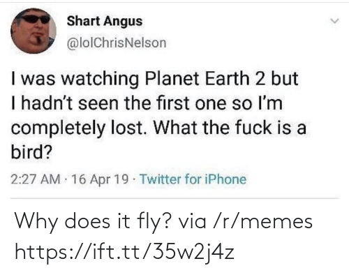 R Memes: Shart Angus  @lolChrisNelson  I was watching Planet Earth 2 but  I hadn't seen the first one so Im  completely lost. What the fuck is a  bird?  2:27 AM 16 Apr 19 Twitter for iPhone Why does it fly? via /r/memes https://ift.tt/35w2j4z