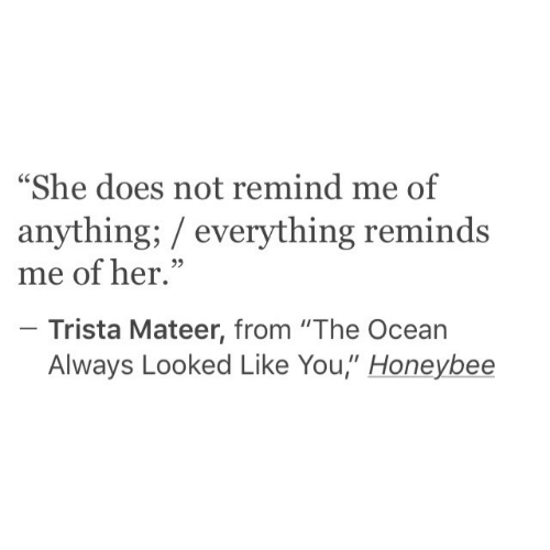 """Ocean, Her, and She: """"She does not remind me of  anything; everything reminds  me of her.""""  Trista Mateer, from """"The Ocean  Always Looked Like You,"""" Honeybee"""