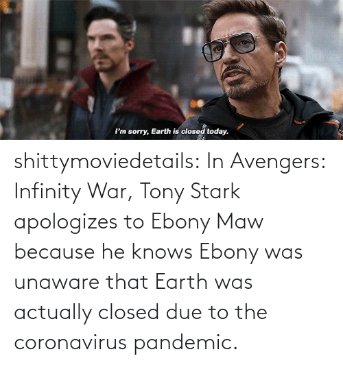Coronavirus: shittymoviedetails:  In Avengers: Infinity War, Tony Stark apologizes to Ebony Maw because he knows Ebony was unaware that Earth was actually closed due to the coronavirus pandemic.