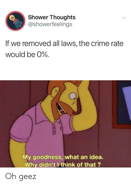 geez: Shower Thoughts  @showerfeelings  If we removed all laws, the crime rate  would be 0%.  My goodness, what an idea.  Why didn't I think of that?  > Oh geez