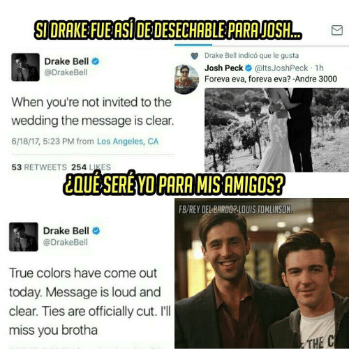 Drake Not Invited To Josh Wedding.Si Drake Fueasidedesechable Parajosh E Drake Bell Indico Que Le