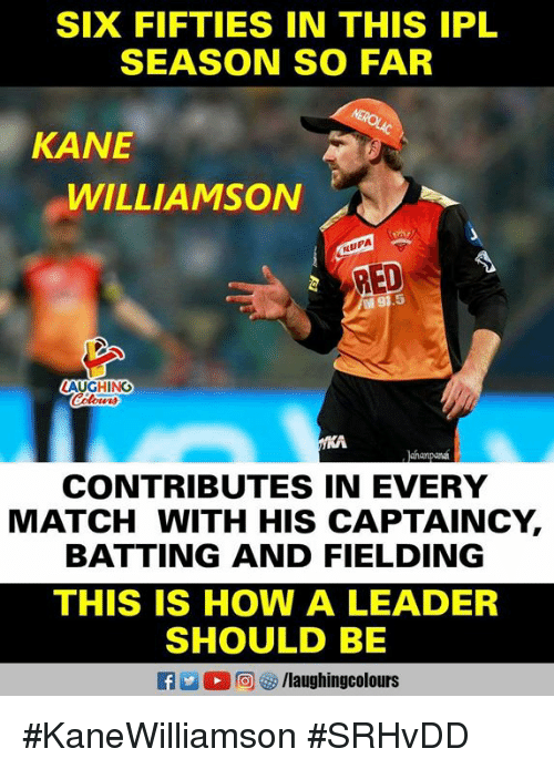 batting: SIX FIFTIES IN THIS IPL  SEASON SO FAR  KANE  WILLIAMSON  RUPA  RED  5  LAUGHING  ahanpan  CONTRIBUTES IN EVERY  MATCH WITH HIS CAPTAINCY,  BATTING AND FIELDING  THIS IS HOW A LEADER  SHOULD BE  f/laughingcolours #KaneWilliamson #SRHvDD