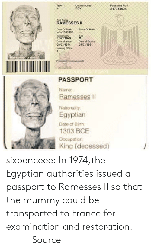 reddit: sixpenceee:  In  1974,the Egyptian authorities issued a passport to Ramesses II so that  the mummy could be transported to France for examination and  restoration.          Source