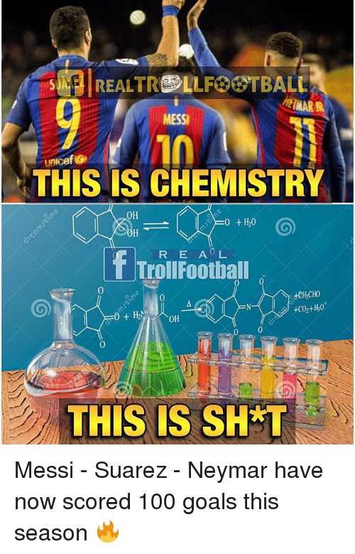 Shatted: SJA  MESSI  Unicef Go  THIS IS CHEMISTRY  OH  0 t H20  f R E AOL  Troll Football  OH  THIS IS SHAT Messi - Suarez - Neymar have now scored 100 goals this season 🔥