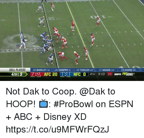 Abc, Disney, and Espn: SKILL PLAYERS  26 BARKLEY RB 81 HOOPER TE 19 THIELEN WR17 ADAMS WR  7A AFC 20 TRI NFC O  13 EVANS WR  4TH 9:10 05 n PRBOwL1 Not Dak to Coop. @Dak to HOOP!   📺: #ProBowl on ESPN + ABC + Disney XD https://t.co/u9MFWrFQzJ