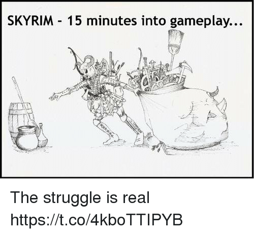 Skyrim, Struggle, and The Struggle Is Real: SKYRIM 15 minutes into gameplay... The struggle is real https://t.co/4kboTTIPYB
