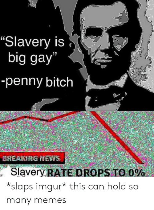 "Bitch, Memes, and News: ""Slavery is  big gay""  -penny bitch  BREAKING NEWS  Slavery RATE DROPS TO O% *slaps imgur* this can hold so many memes"