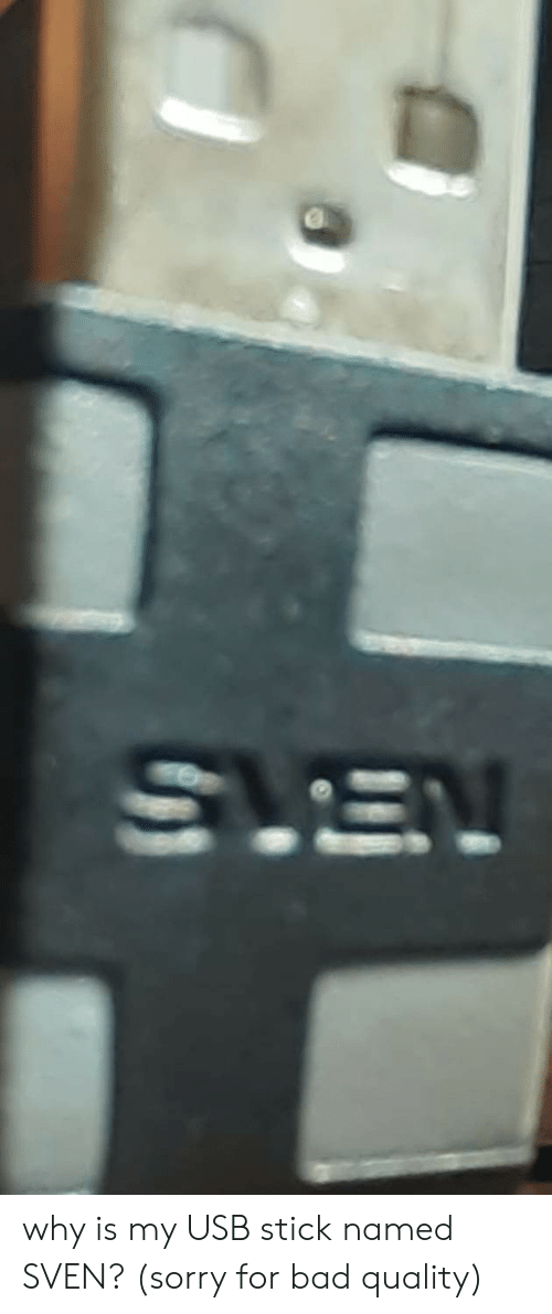 Bad, Sorry, and Usb: SLEV why is my USB stick named SVEN? (sorry for bad quality)