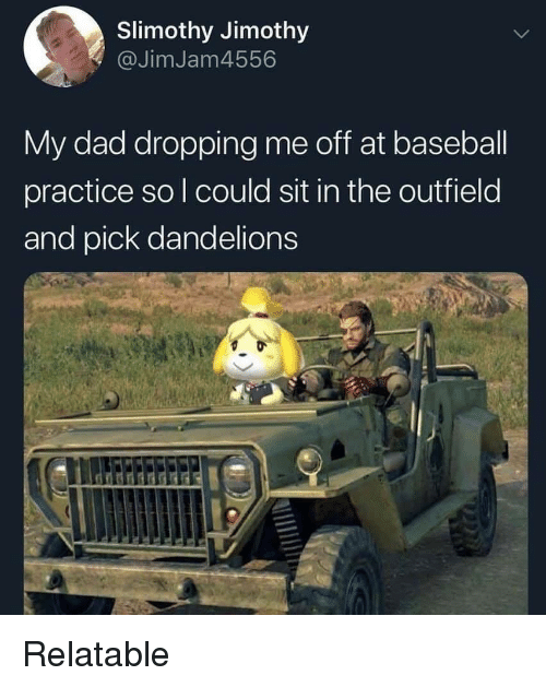 Baseball, Dad, and Relatable: Slimothy Jimothy  @JimJam4556  My dad dropping me off at baseball  practice so l could sit in the outfield  and pick dandelions Relatable