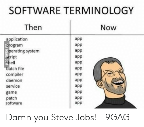 SOFTWARE TERMINOLOGY Then Now Application Erogram Perating System