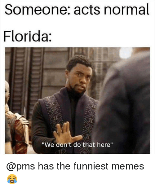 """funniest memes: Someone: acts normal  Florida:  Tr  """"We don't do that here"""" @pms has the funniest memes 😂"""