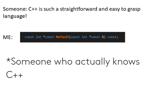 Someone Who: *Someone who actually knows C++