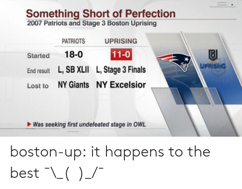 Ny Giants: Something Short of Perfection  2007 Patriots and Stage 3 Boston Uprising  Started  End result  Lost to  PATRIOTS  18-0  L, SB XLII  NY Giants  UPRISING  11-0  L, Stage 3 Finals  NY Excelsior  UPRISING  Was seeking first undefeated stage in OWL boston-up:  it happens to the best ¯\_(ツ)_/¯