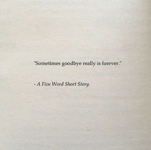 "sometimes: ""Sometimes goodbye really is forever.""  - A Five Word Short Story."