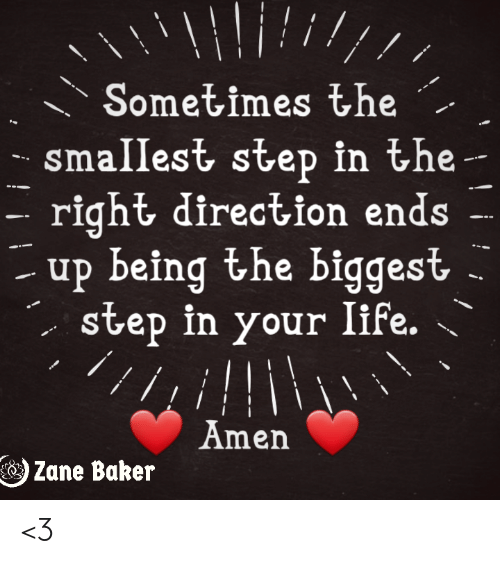Memes, 🤖, and Step: Sometimes the  smallest step in the-  right direction ends  up being the biggest  step in your Iife.  // i.  Amen  Zane Baker <3